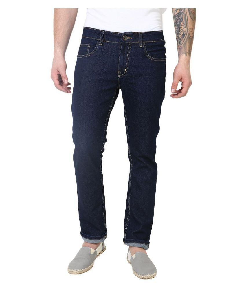 Superx Blue Slim Fit Solid Jeans