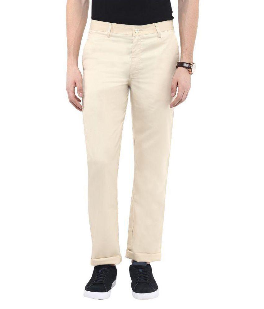 Urbano Fashion Beige Slim Fit Flat Trousers