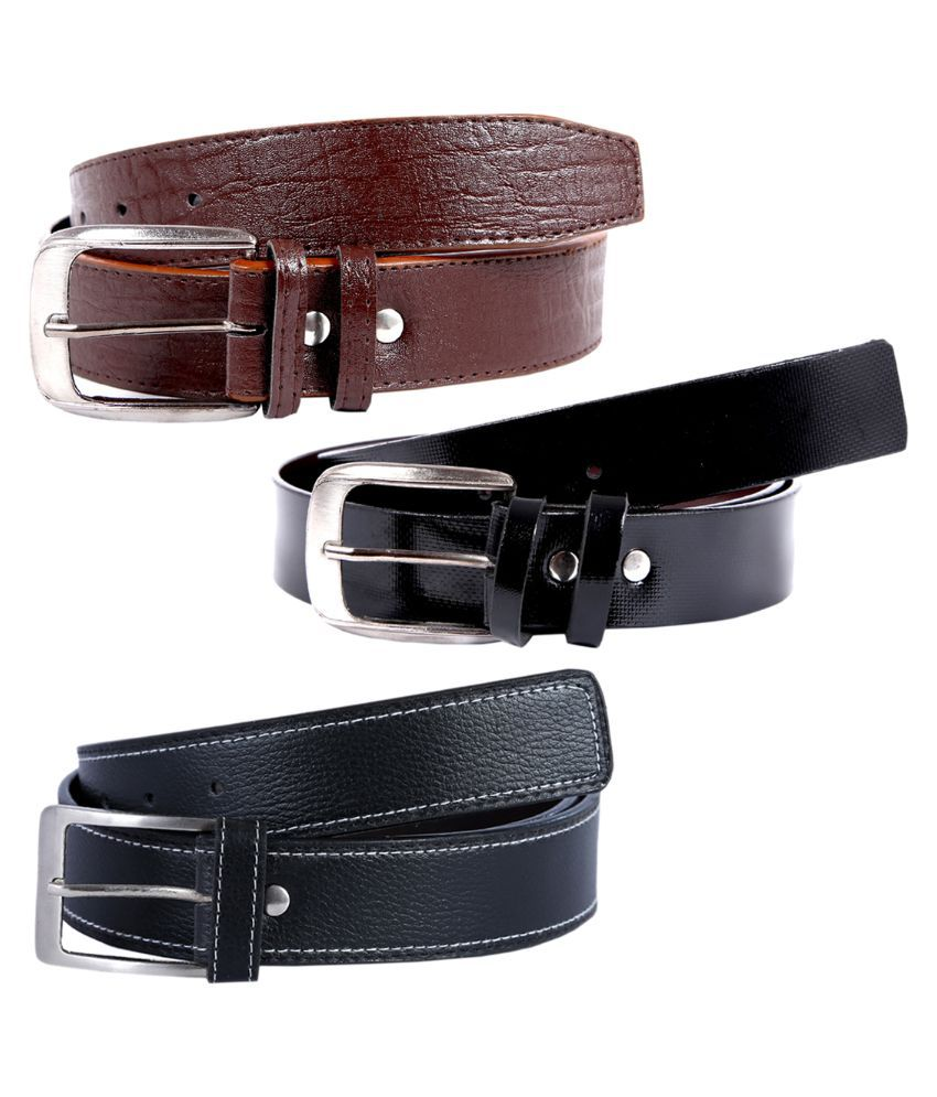Hardy's Collection Multicolour Pin Buckle Casual Belt For Men - Pack of 3