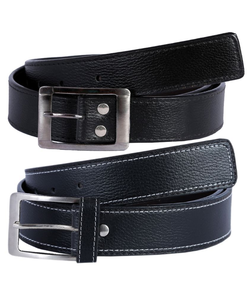 Hardy's Collection Black Pin Buckle Belt for Men - Pack of 2