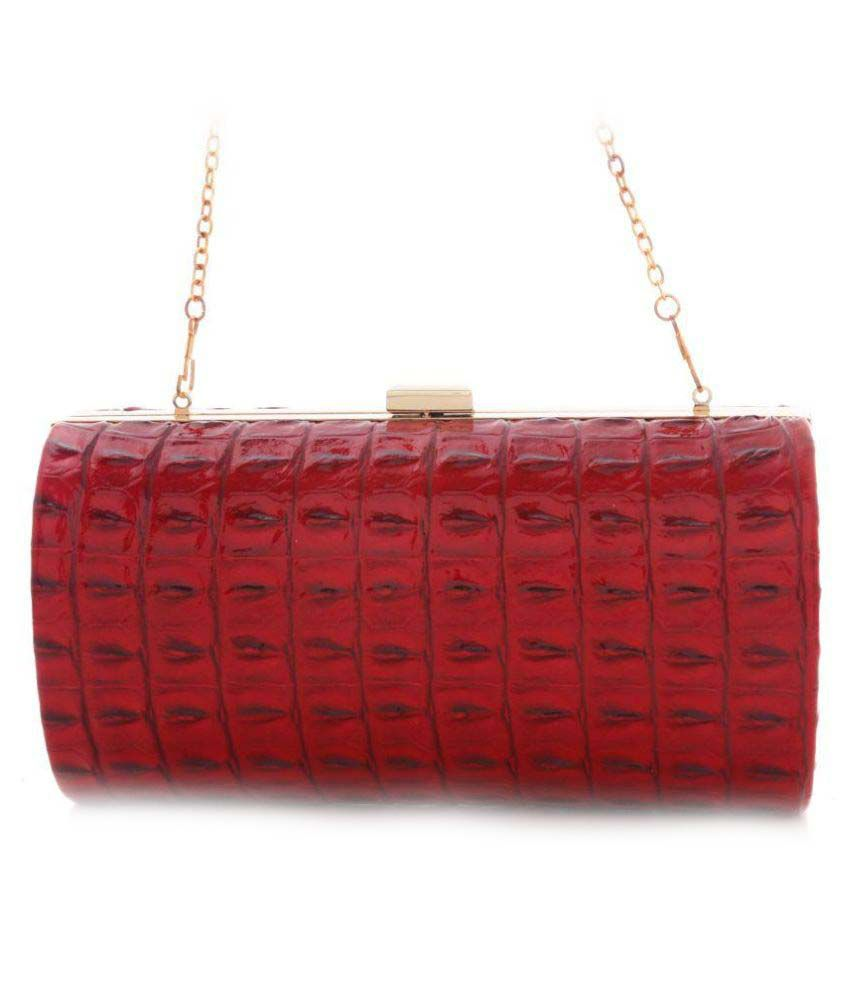 Foolzy Maroon Pure Leather Box Clutch