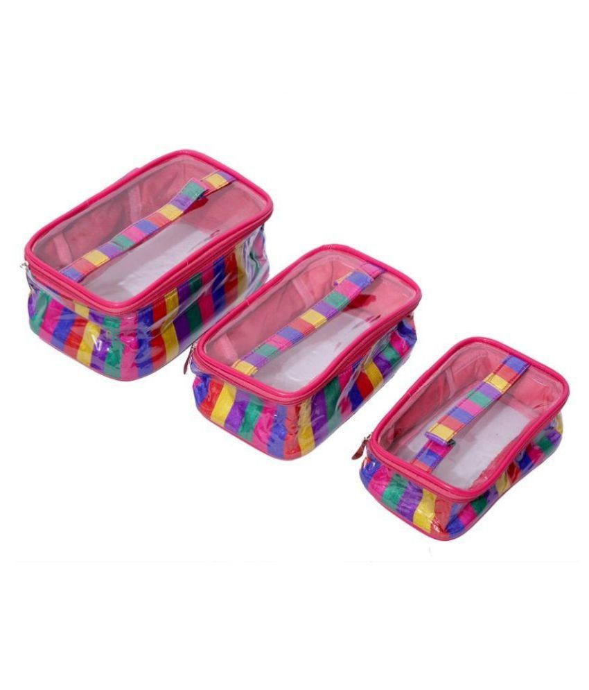 Kuber Industries Fabric Studded Multi Coloured Jewellery Boxes - Pack of 3