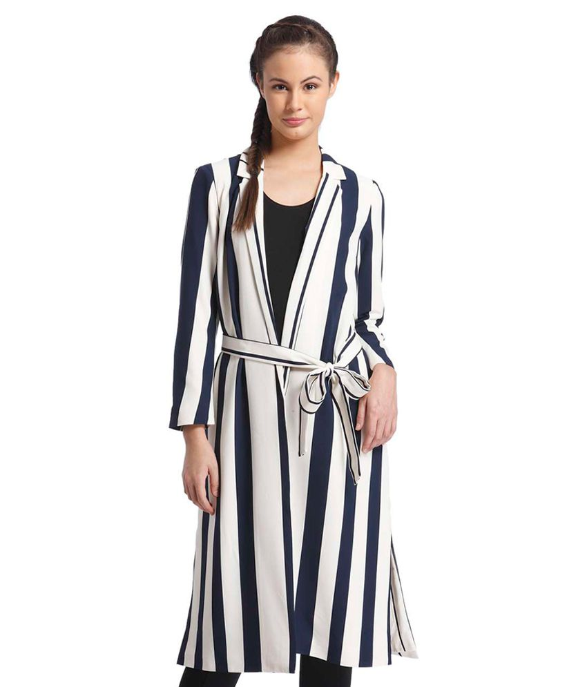 d3fe1fef774 ONLY White amp  Navy Blue Striped Regular Fit Blazer available at SnapDeal  for Rs.