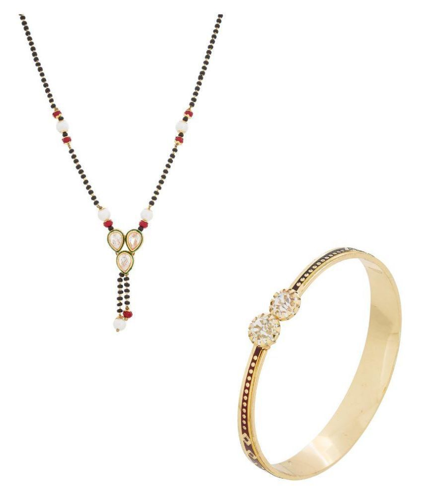 The Luxor Alloy American Diamonds Studded Multi Coloured Mangalsutra Combo