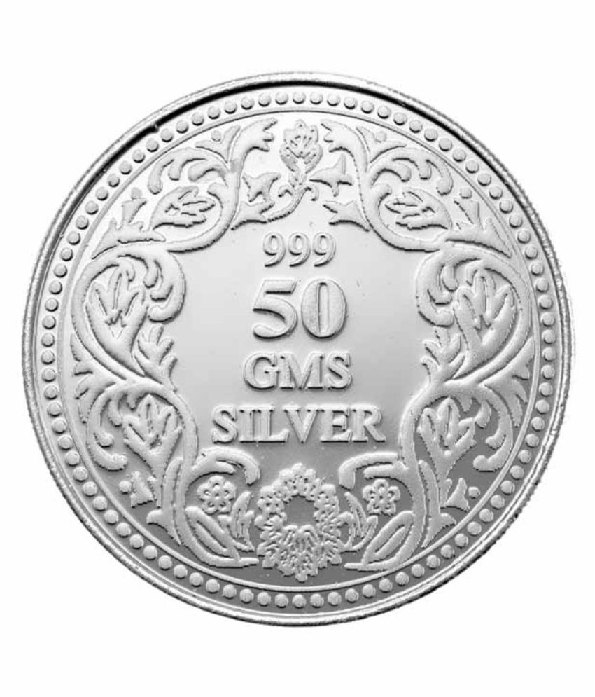 99jewels 50 Gm Silver Coins 999 Purity Plain Silver Coin