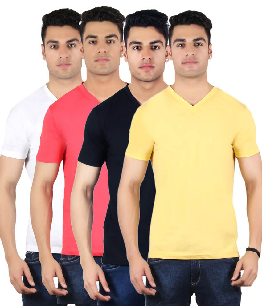 Diaz Multi V-Neck T-Shirt Pack of 4