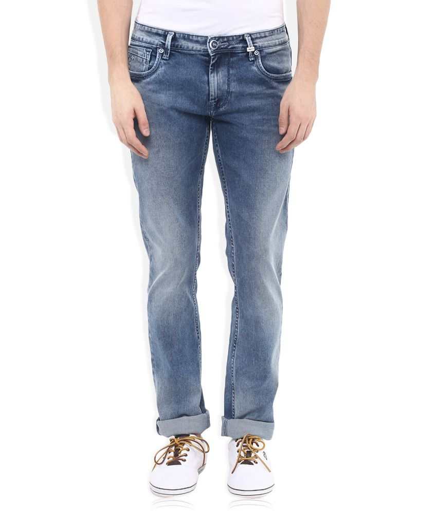 LAWMAN pg3 Blue Slim Fit Faded Jeans