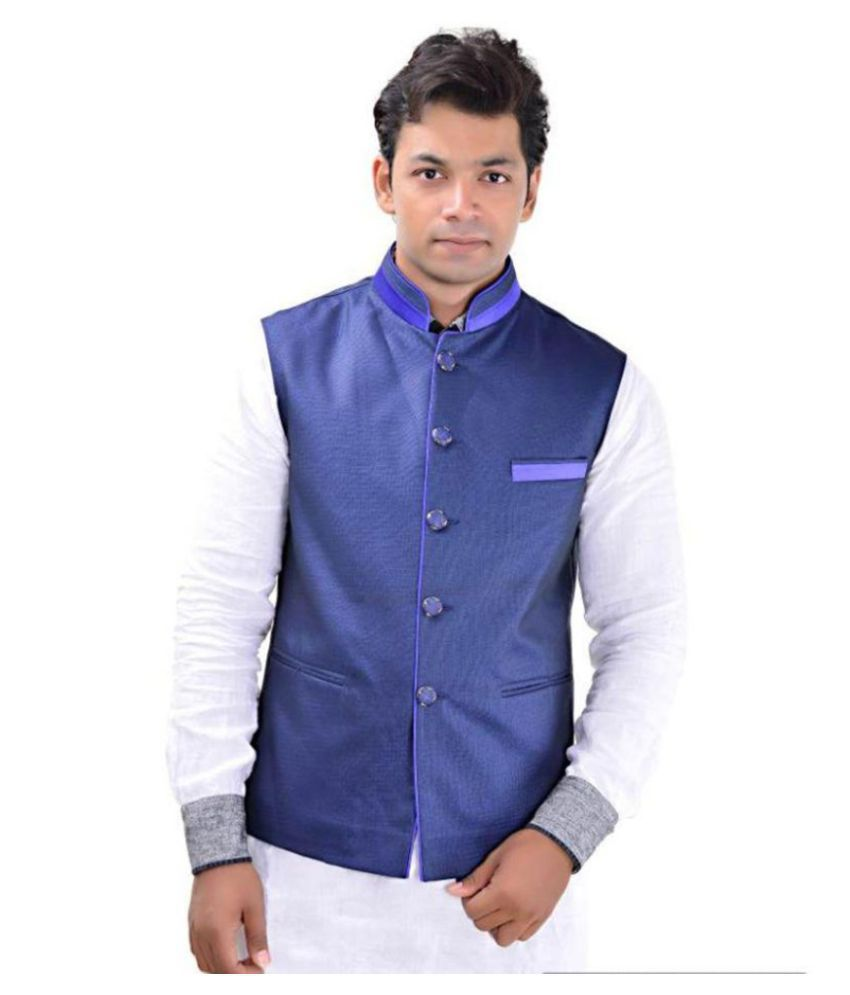 MD Fashion Navy Party Waistcoats