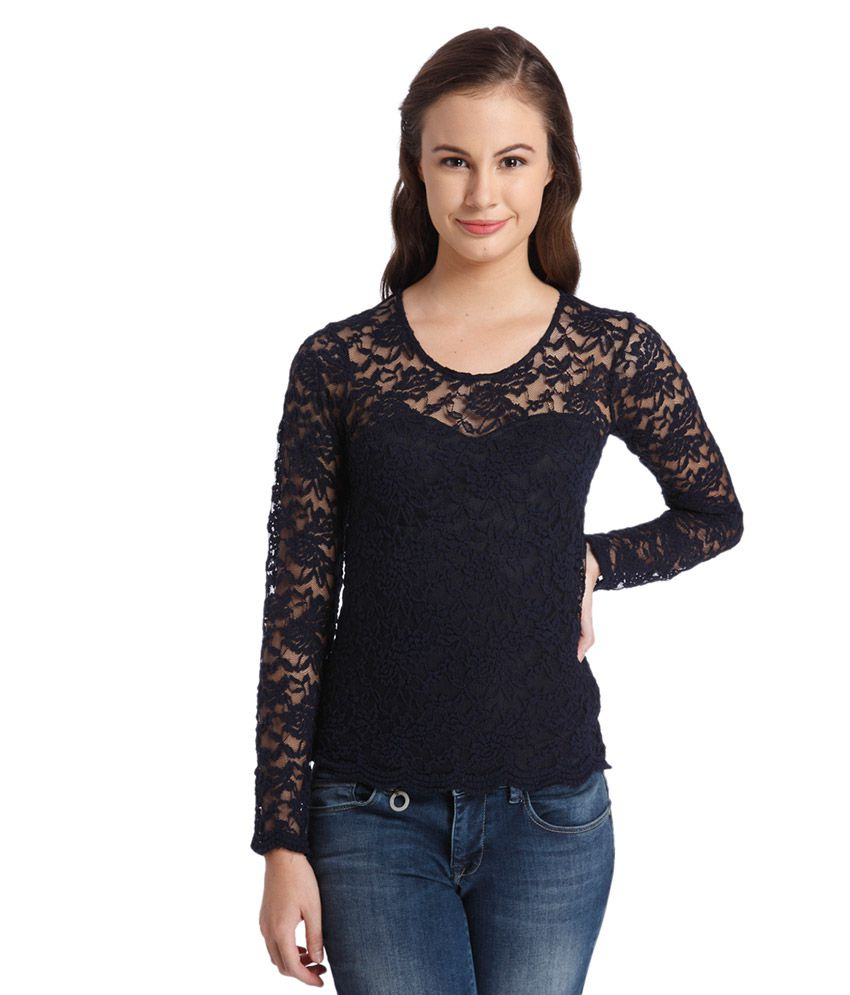 b60c47d144 ONLY Navy Blue Lace Top - Buy ONLY Navy Blue Lace Top Online at Best Prices  in India on Snapdeal