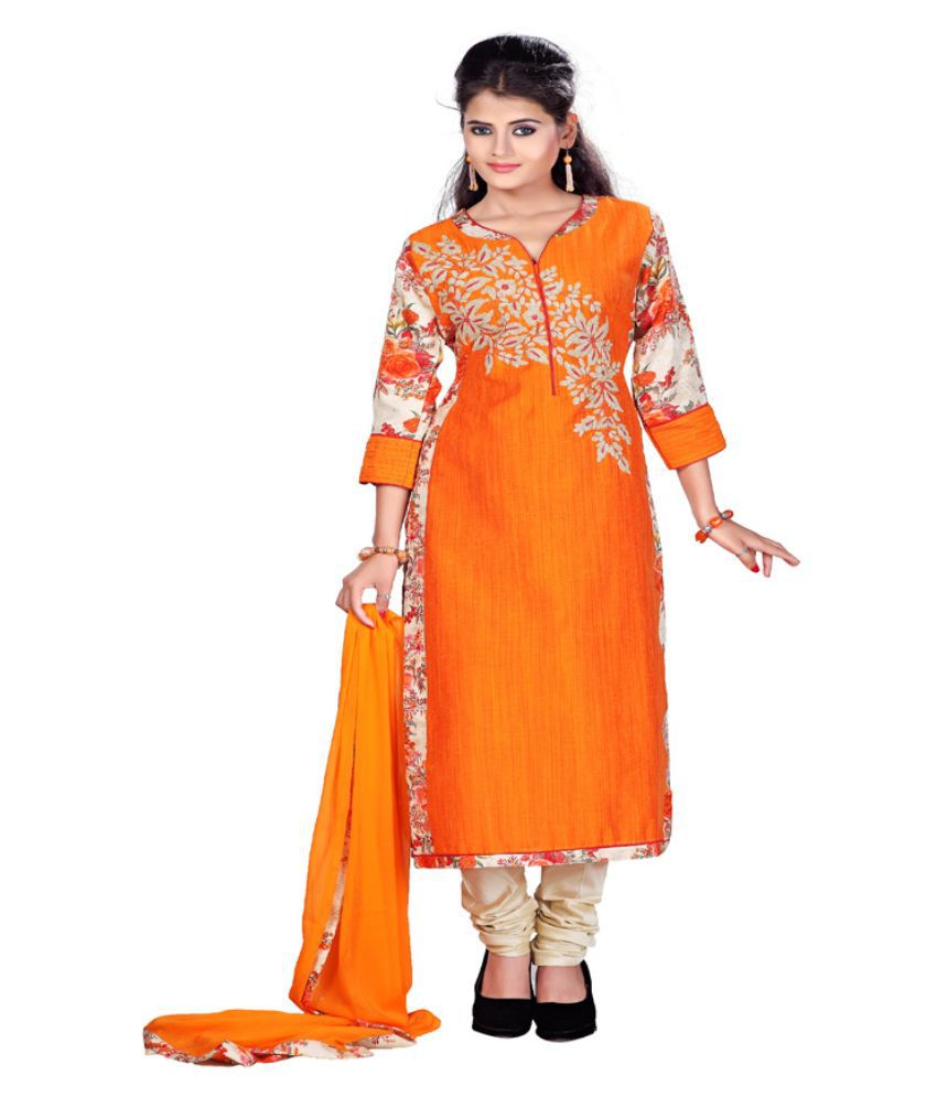 Payal Orange Jute Straight Fit Stitched Salwar Suit