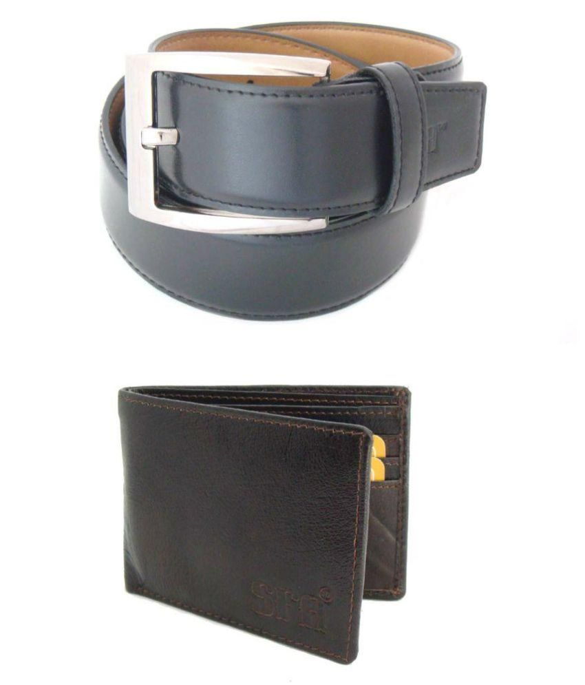 SFA Black Belt with Wallet for Men