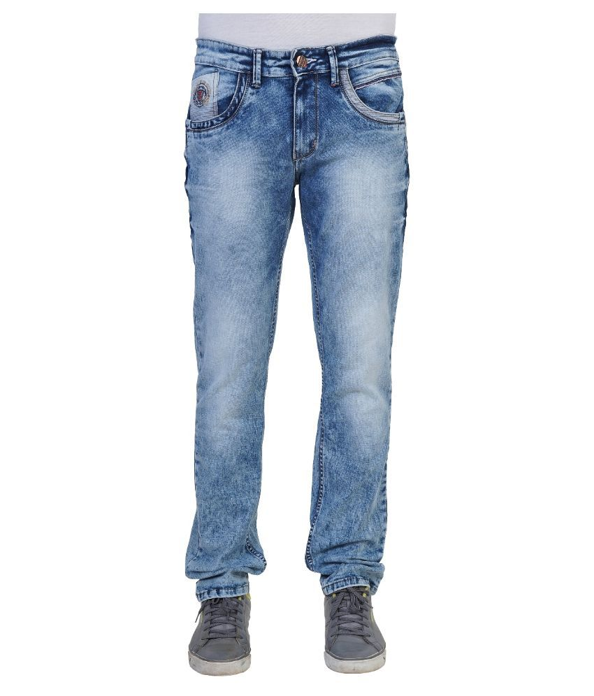 Thames Blue Regular Fit Faded Jeans