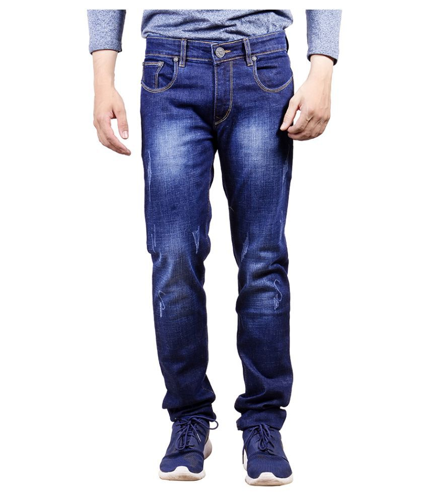 Yorky Blue Regular Fit Faded Jeans