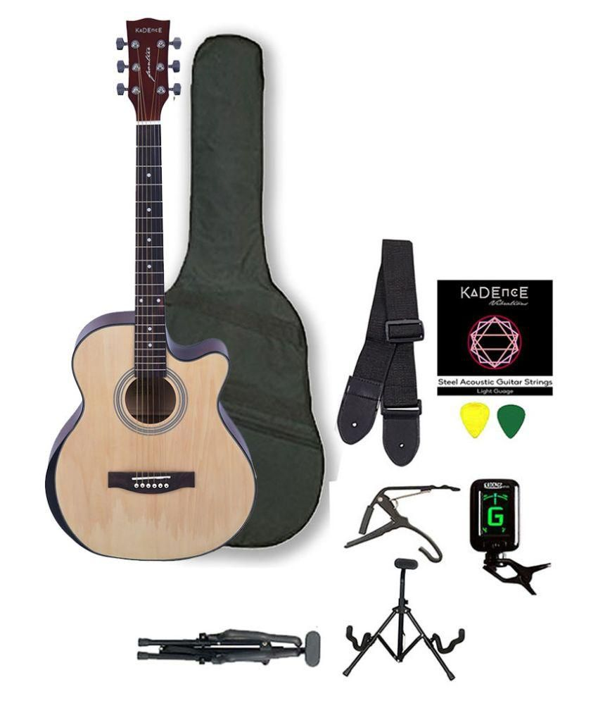 Kadence Frontier Series Q10 (Hand Rest) Acoustic Guitar, Natural, Combo  Bag,Strings,Strap,Picks,Capo,Tuner,Guitar Stand