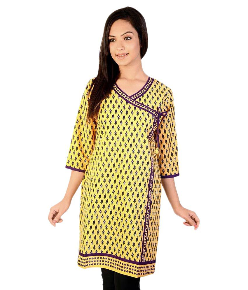 Shilpbazaar Yellow Cotton Straight Kurti