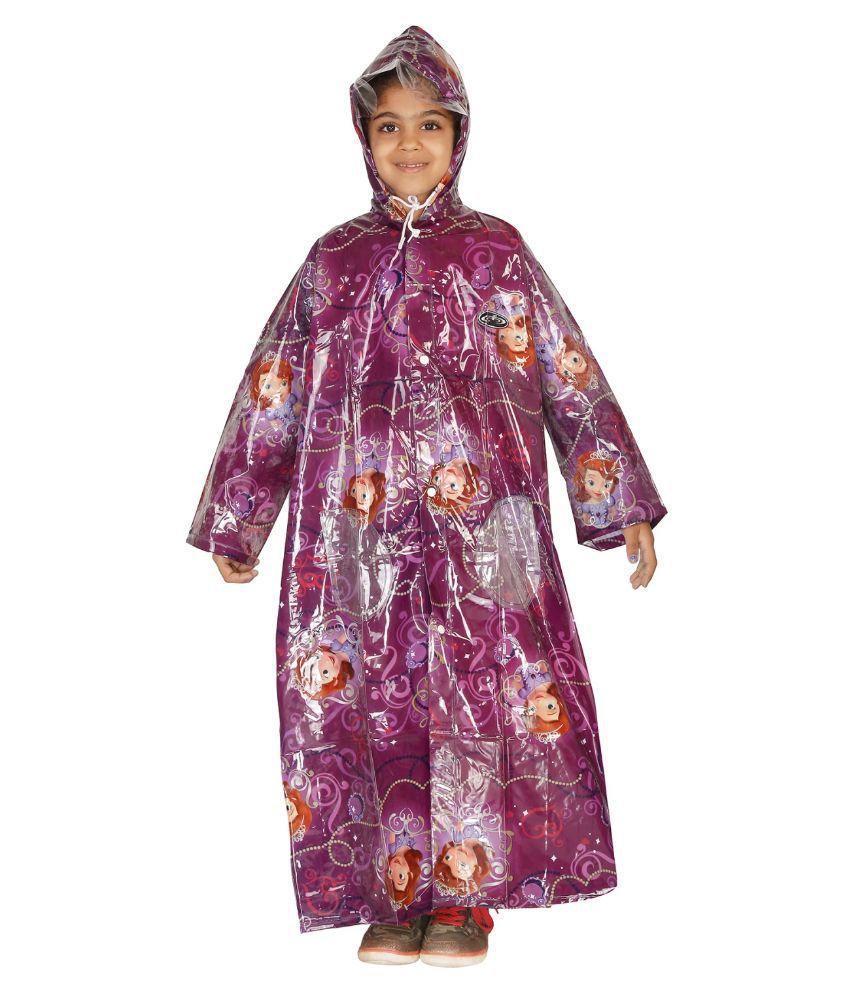 ZEEL Purple Printed Long Raincoat For Girls