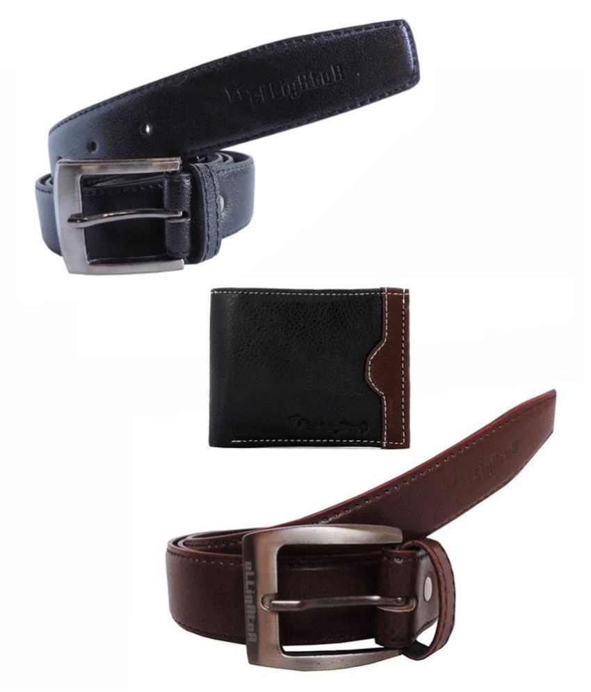 Elligator Multicolor Non Leather Belts - Set of 2 with Wallet