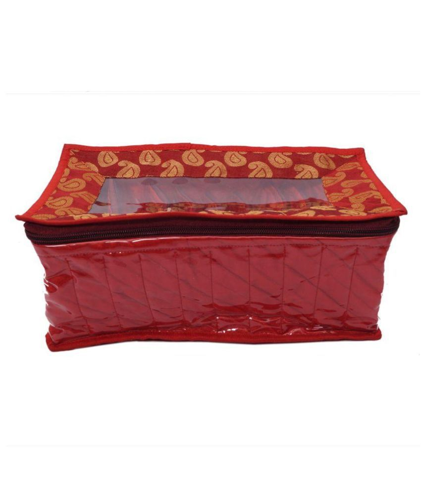 Hanu Enterprises Fabric Studded Maroon Coloured Jewellery Box