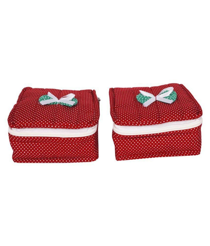 Hanu Enterprises Red Fabric Jewellery Box