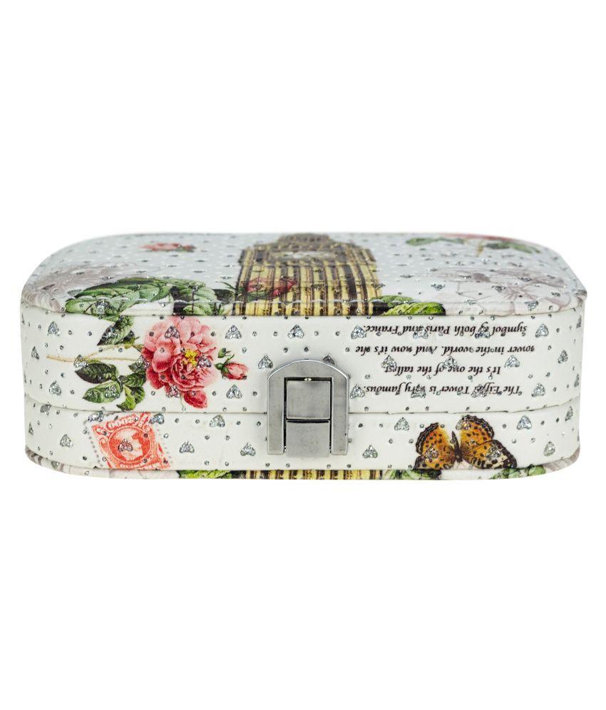 Zeva Wood Studded White Coloured Jewellery Box