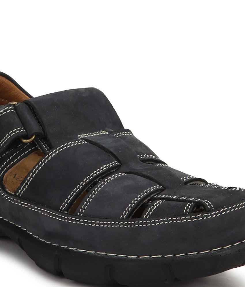 Woodland Black Sandals Price in India