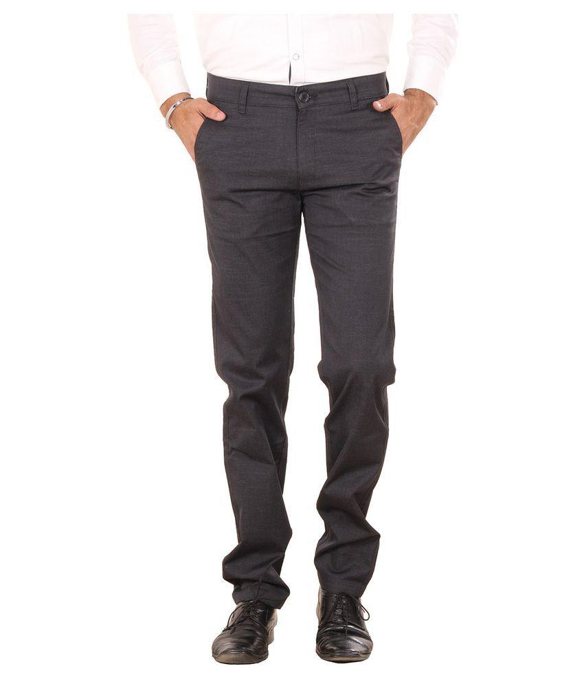 Metalica Blue Regular Fit Flat Trousers