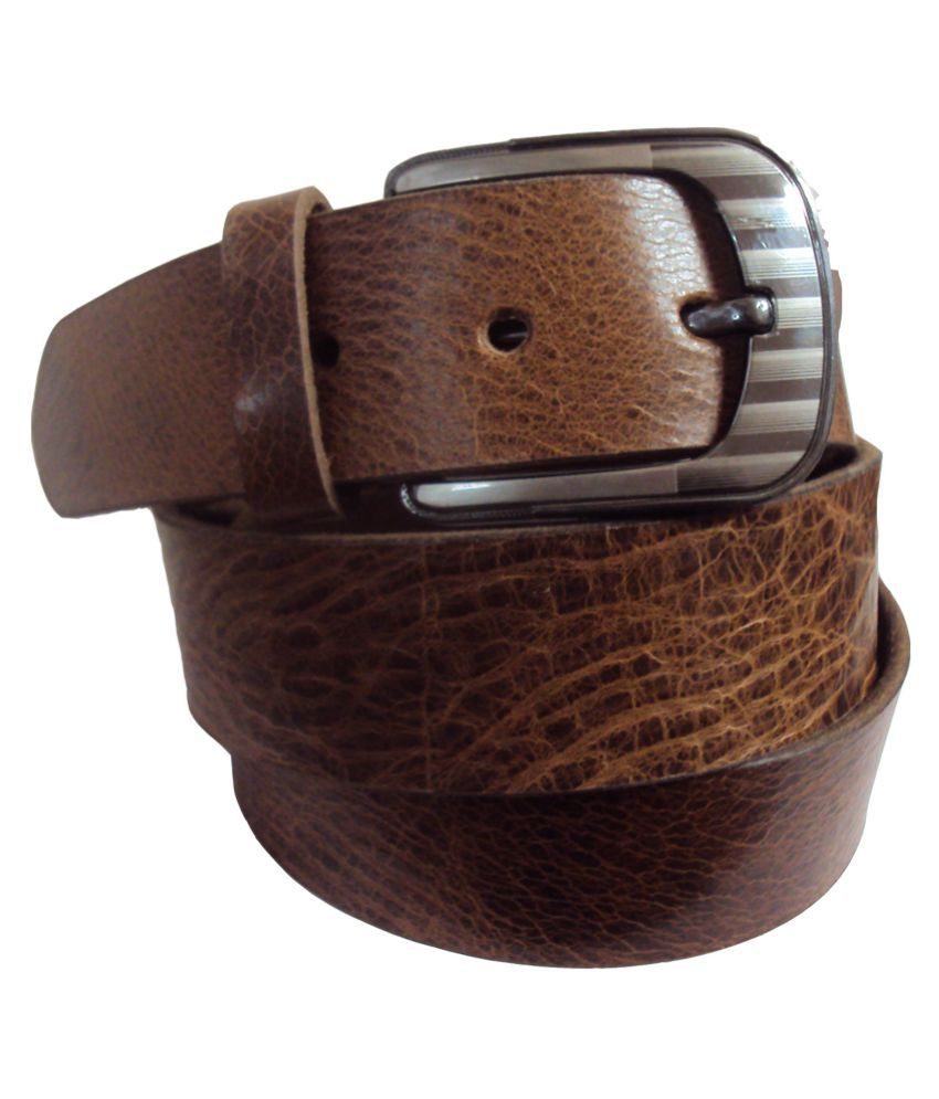 National Leathers Tan Leather Casual Belt For Men