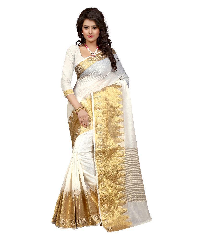 Silvermoon Fashion White Kanchipuram Saree