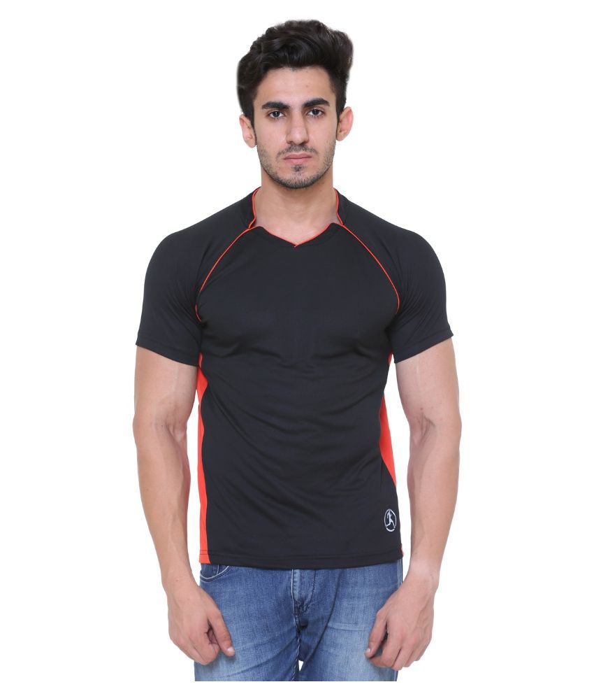 Hikes Black Polyester T-Shirt