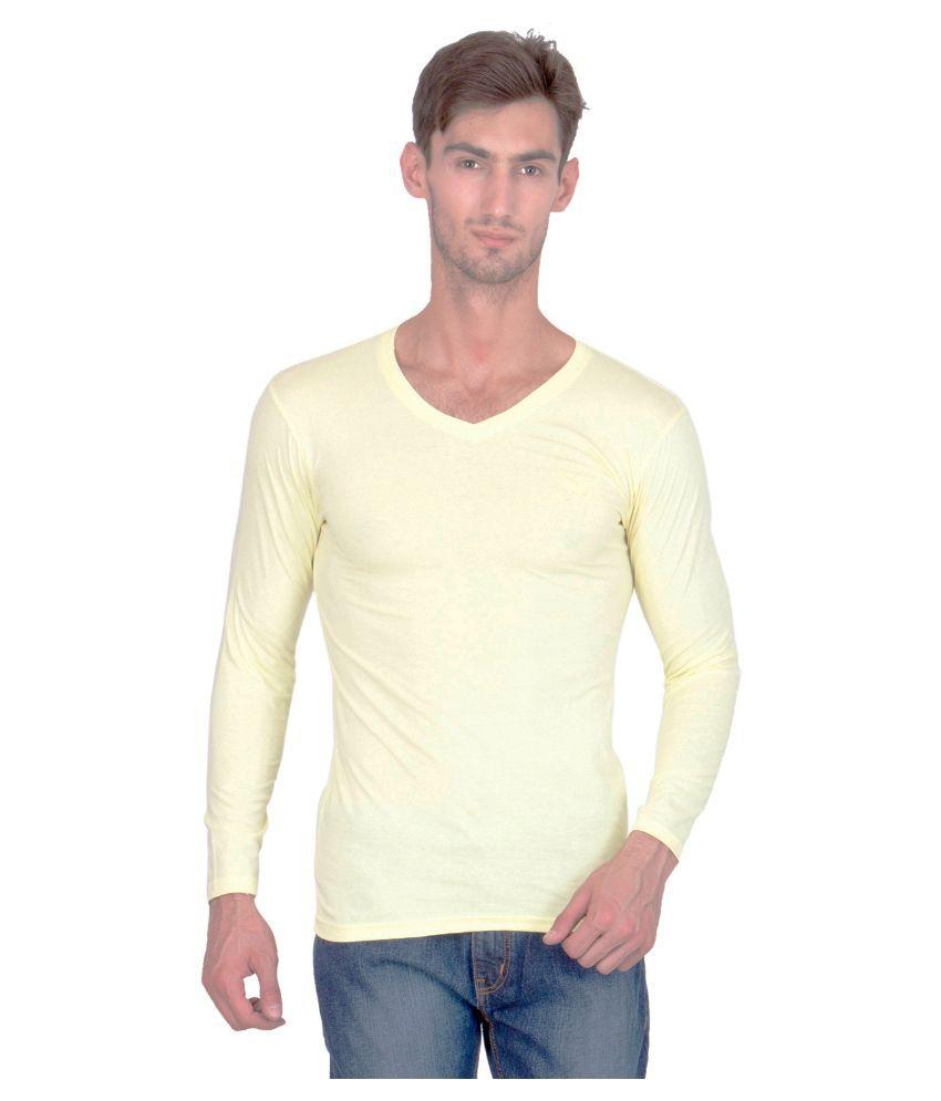 Bhanstore Yellow V-Neck T Shirt