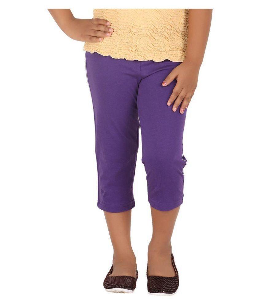 Minnow Purple Capris For Girls