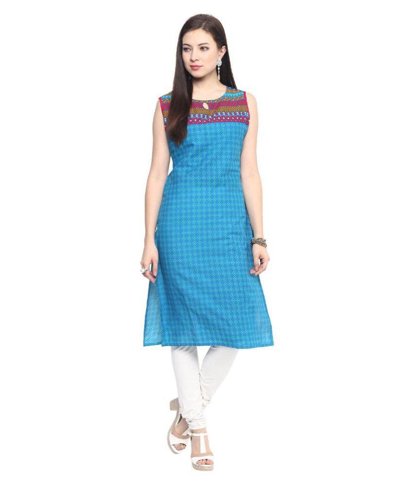7a43f9933 Jaipur Kurti Blue Cotton Straight Kurti - Buy Jaipur Kurti Blue ...