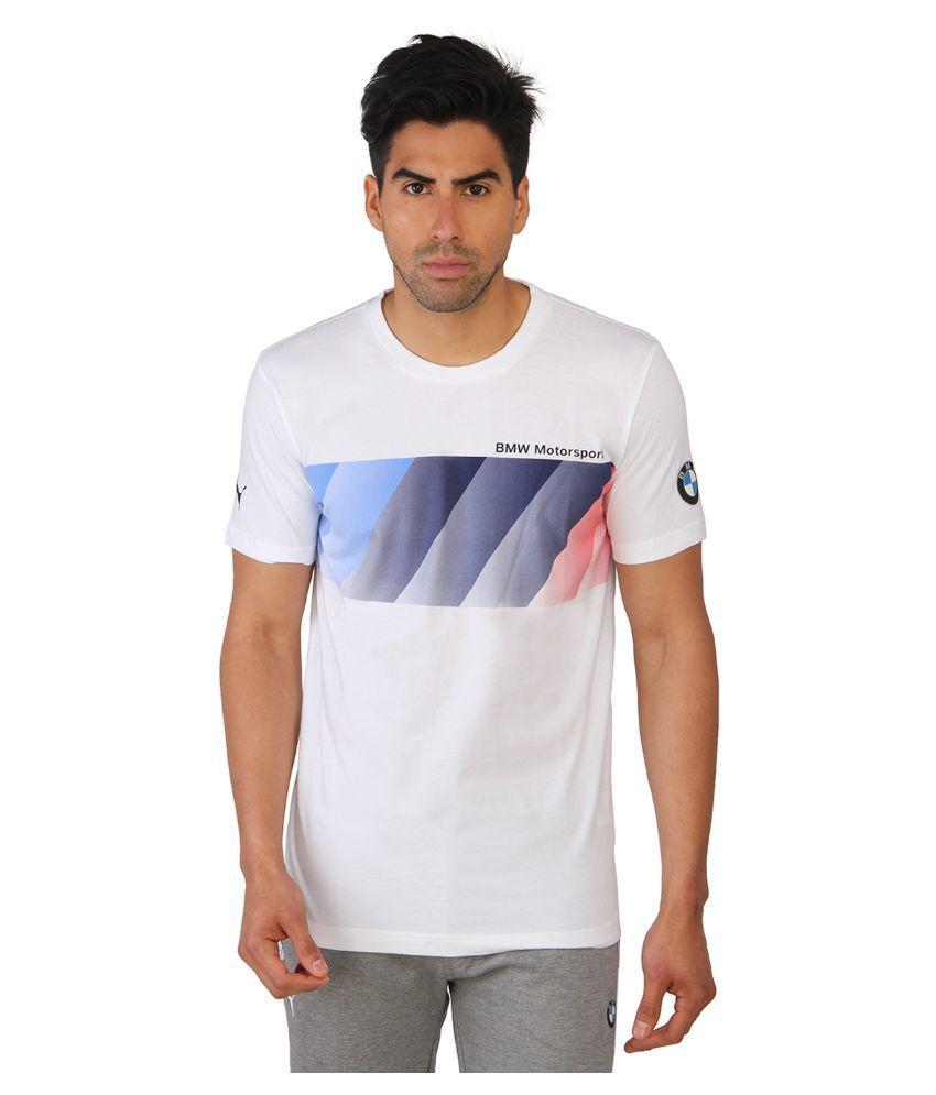 Puma White Round T Shirt