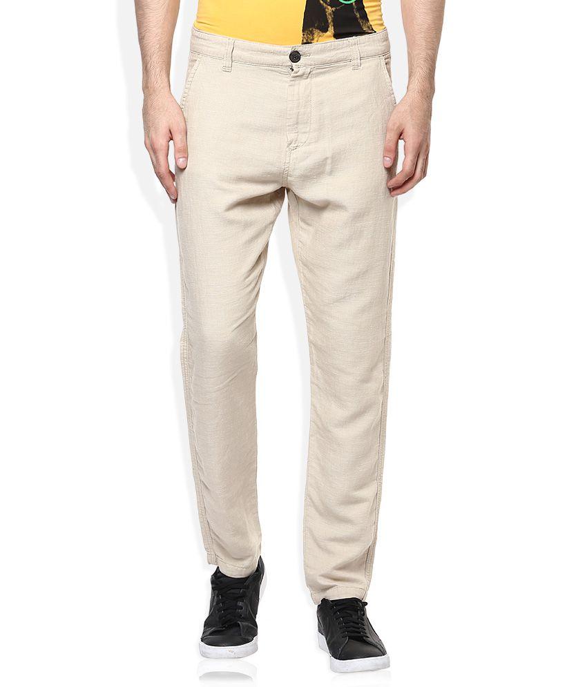 Selected Beige Slim Fit Flat Trousers
