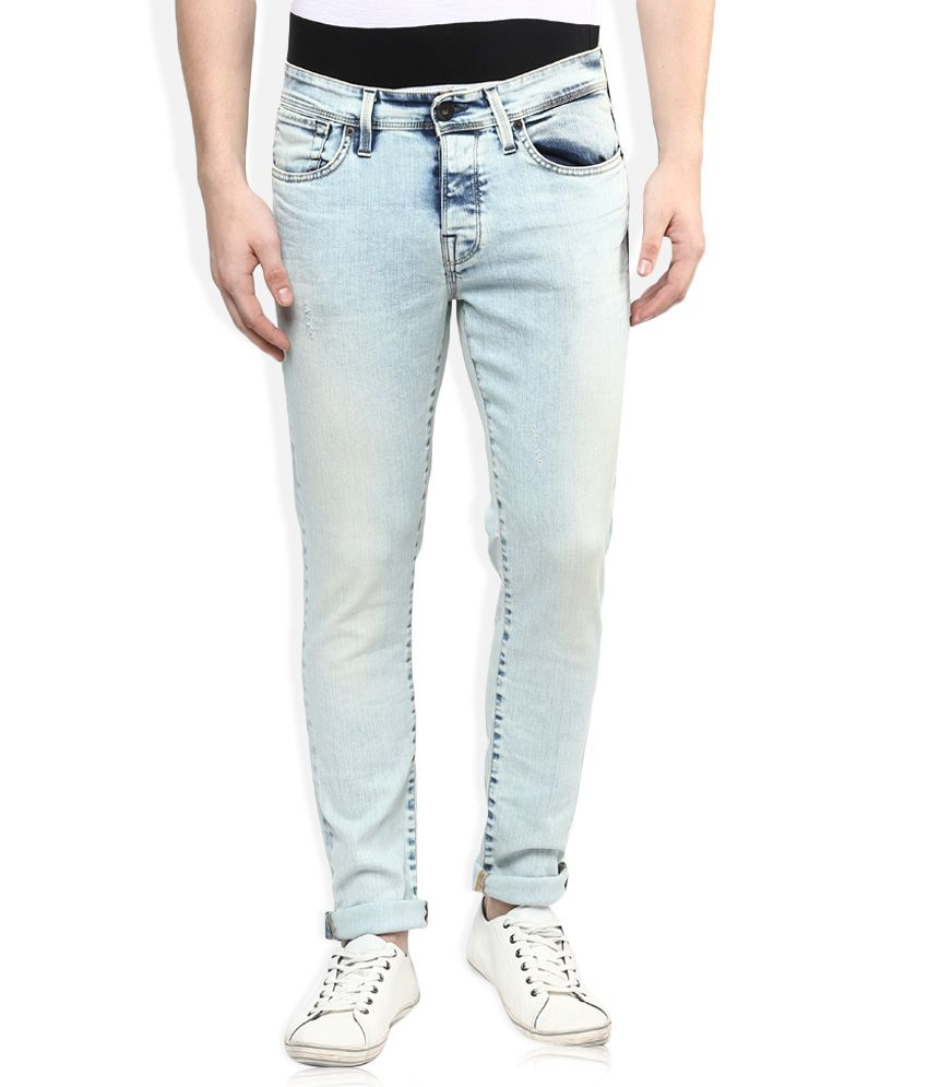 Selected Blue Skinny Fit Faded Jeans