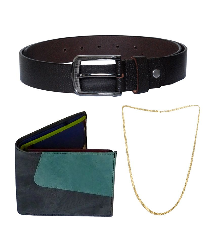 Sondagar Arts Men's Belt with Wallet & Chain