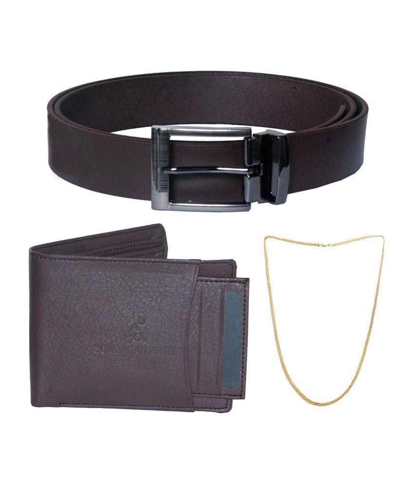 Sondagar Arts Men's Belt with Wallet & Chain