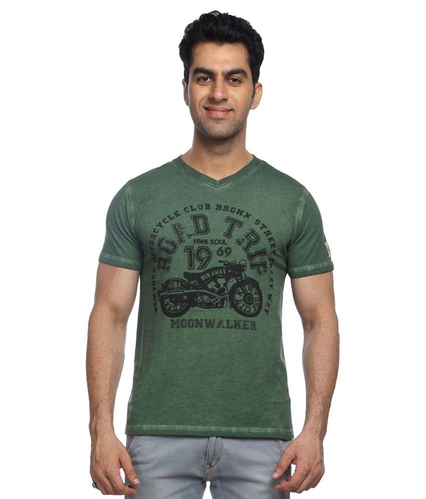 Moonwalker Green V-Neck T Shirt