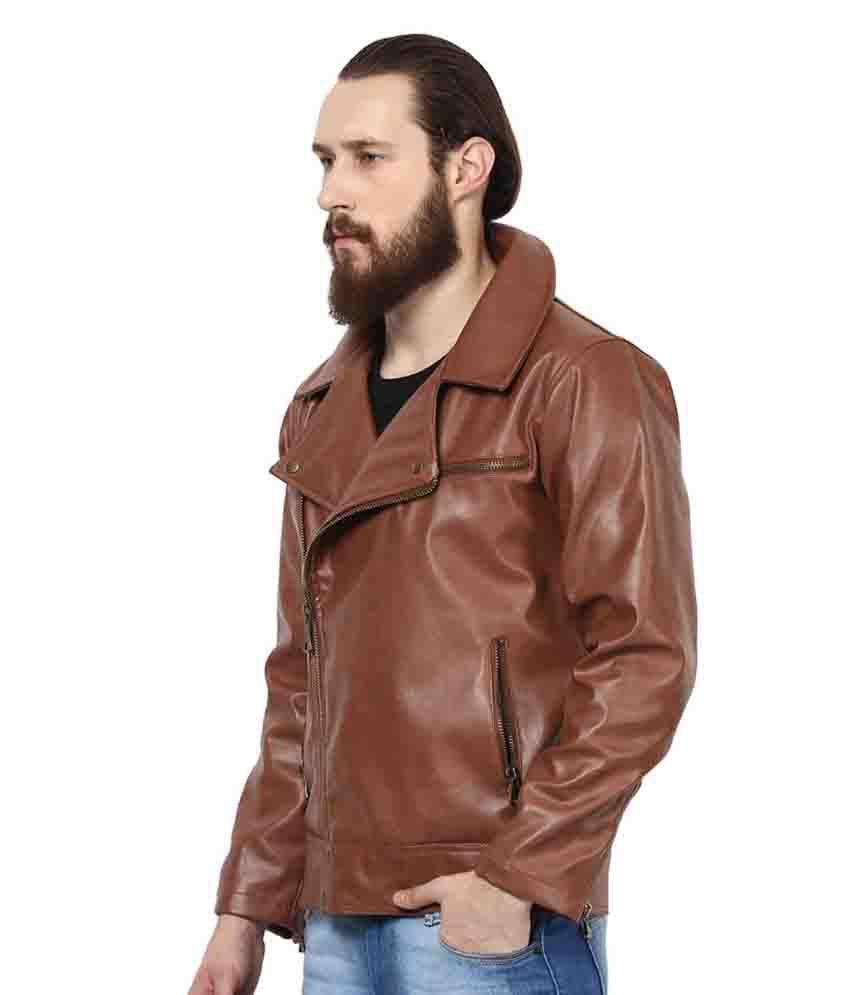 Leather jacket yepme -  Yepme Brown Pu Leather Casual Jacket
