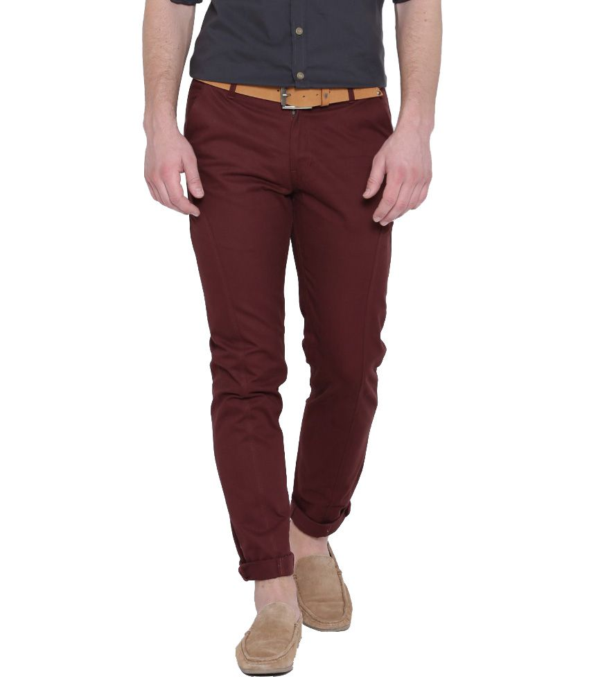 Hubberholme Maroon Slim Fit Chinos