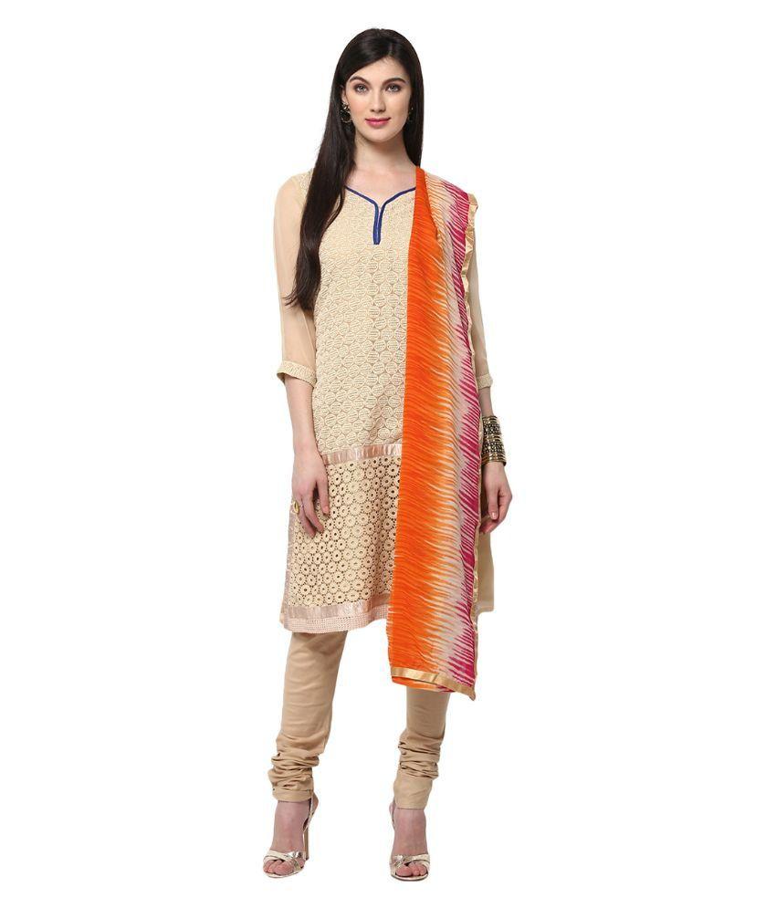 Yepme Beige Blended A-line Salwar Suit