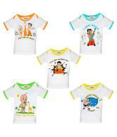 Chhota Bheem White Cotton T Shirt (Pack of 5)