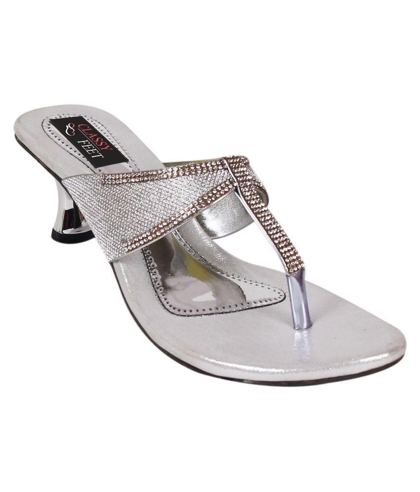Classy Feet Silver Kitten Heels