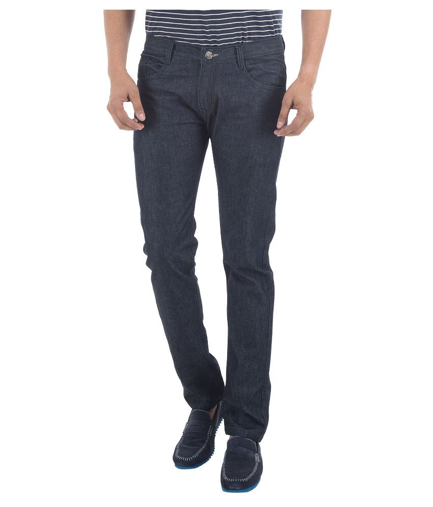 Club Vintage Black Slim Fit Solid Jeans