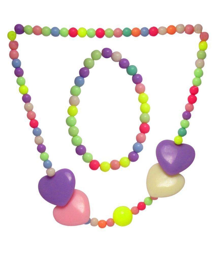 Jewelz Plastic Studded Multi Coloured Necklaces Set