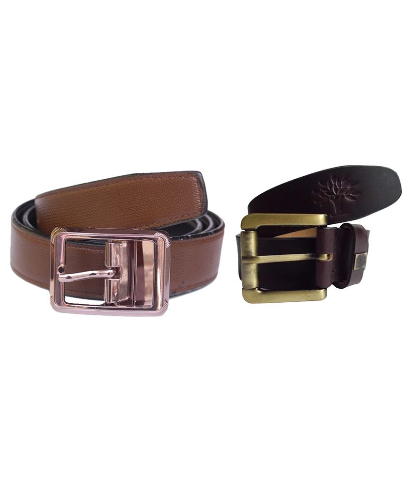Sankalp Multicolor Leather Casual Belt For Men - Pack Of 2