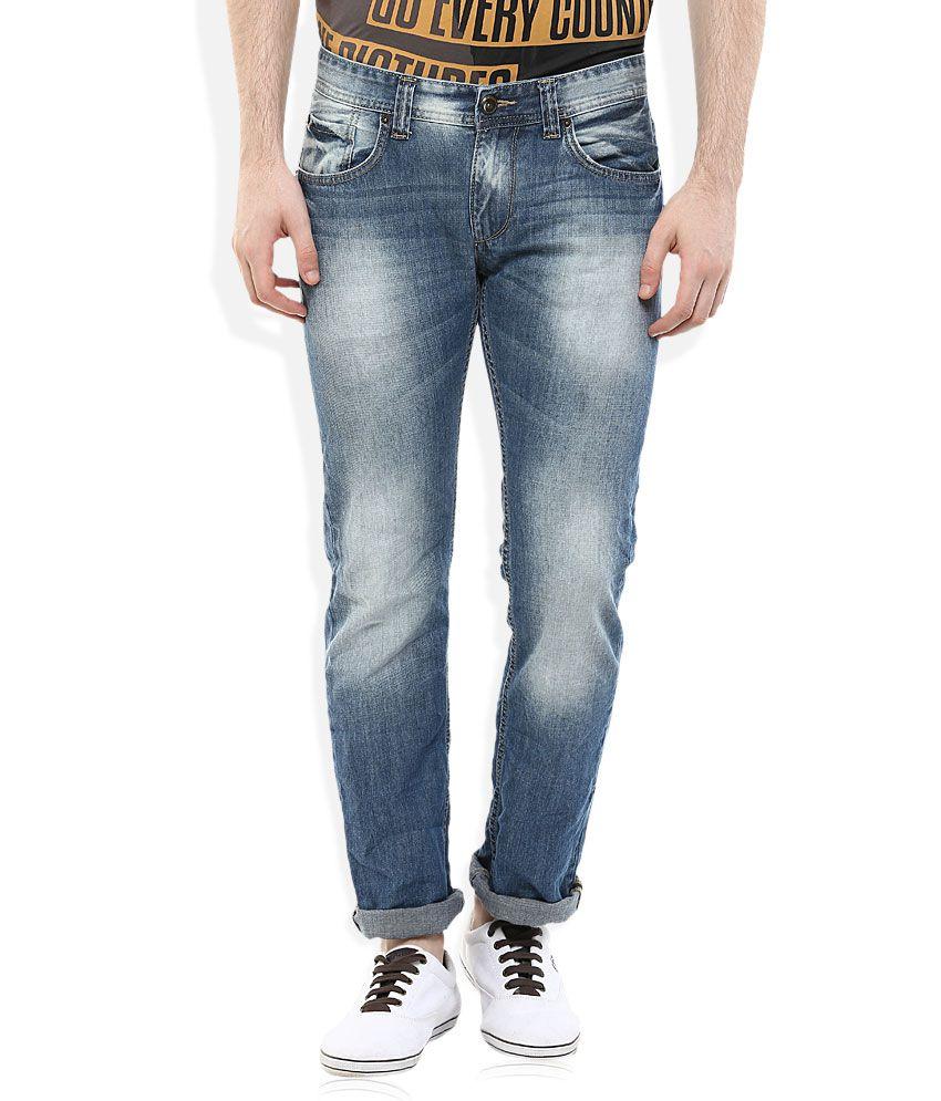 Spykar Blue Regular Fit Faded Jeans