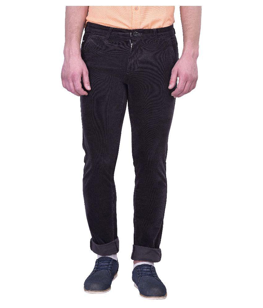 Blue Buddha Black Slim Fit Flat Trousers