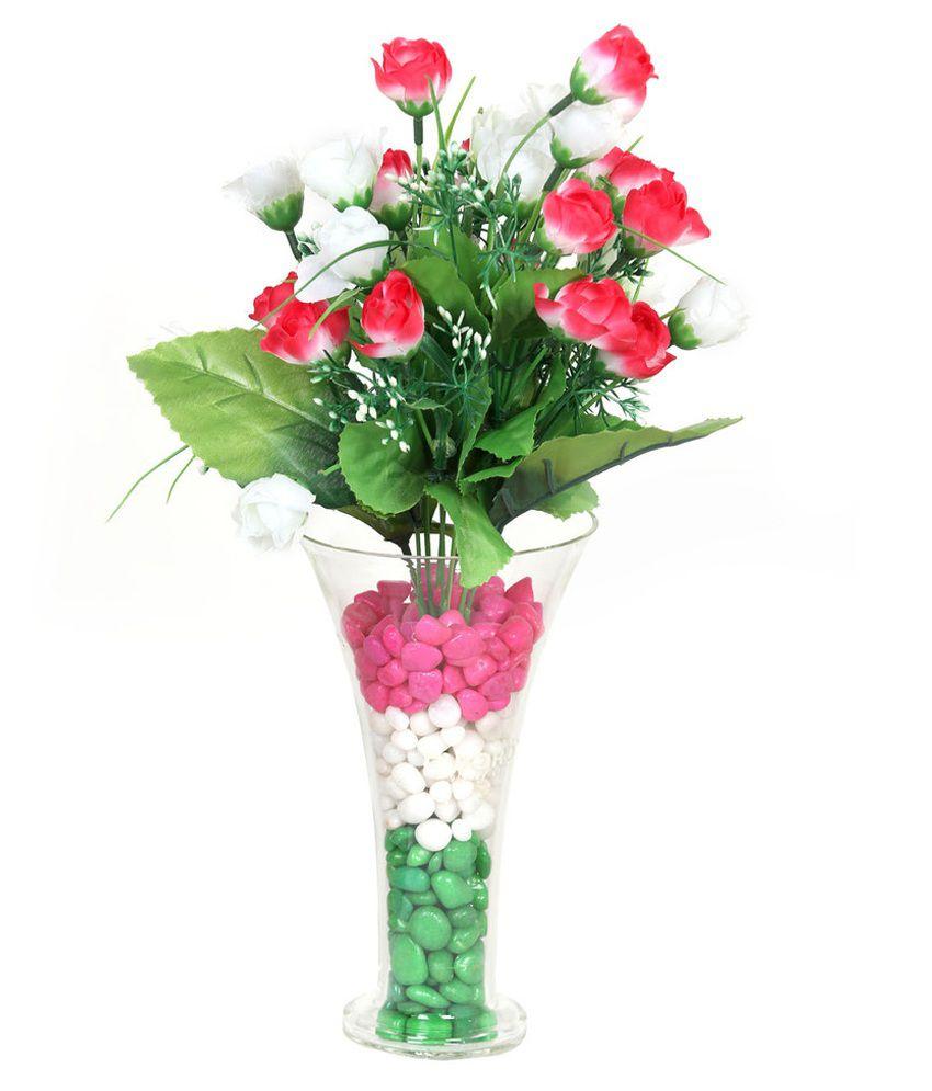 Dboro transparent borosilicate glass vase with artificial flowers dboro transparent borosilicate glass vase with artificial flowers reviewsmspy