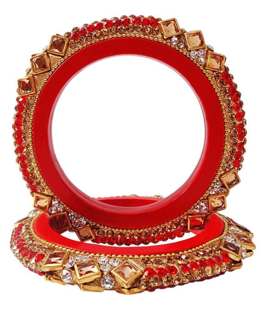 Super Divine Collections Lac Stones Studded Red Coloured Bangle